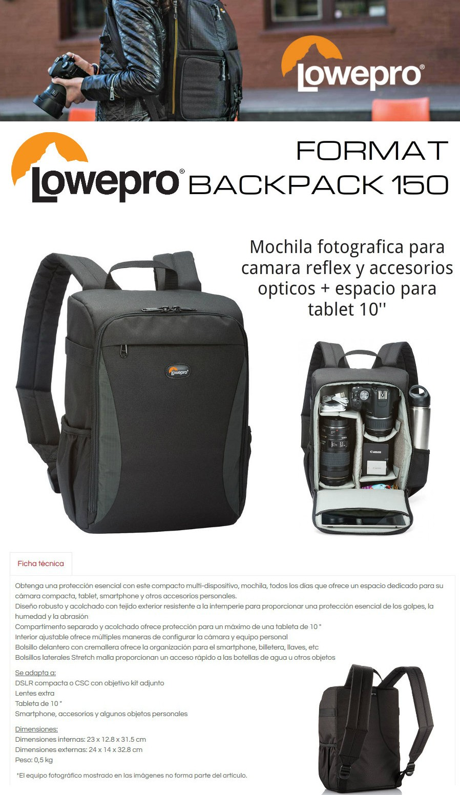 LOWEPRO FORMAT BACKPACK 150 MOCHILA FOTOGRAFICA