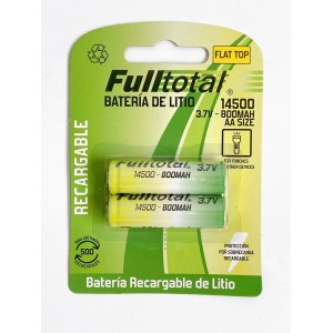 Bateria 14500 Full total litio ion 3.6v 800mah recargable plana sin teton x pila